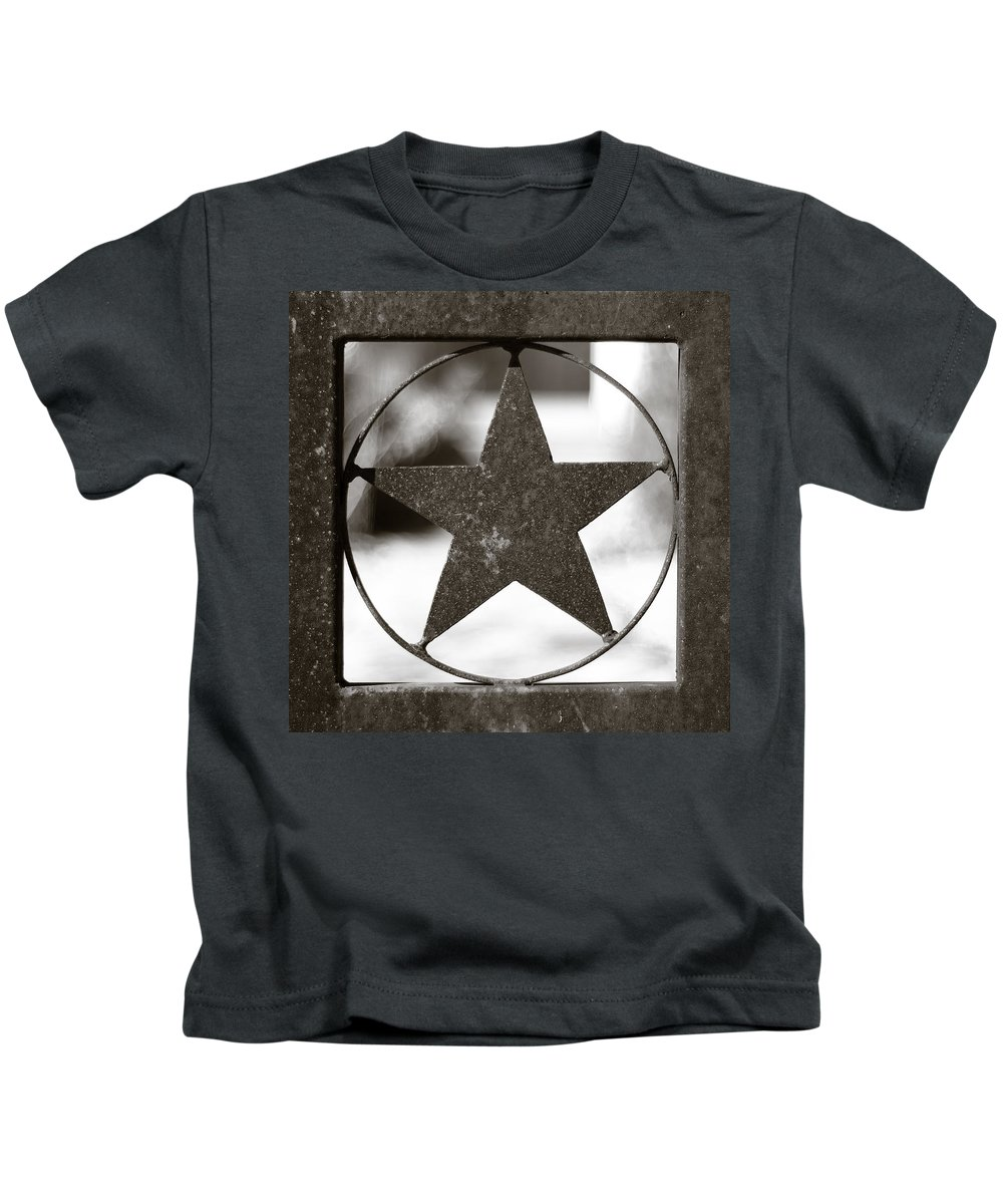 Black And White Kids T-Shirt featuring the photograph Lone Star by Sean Wray