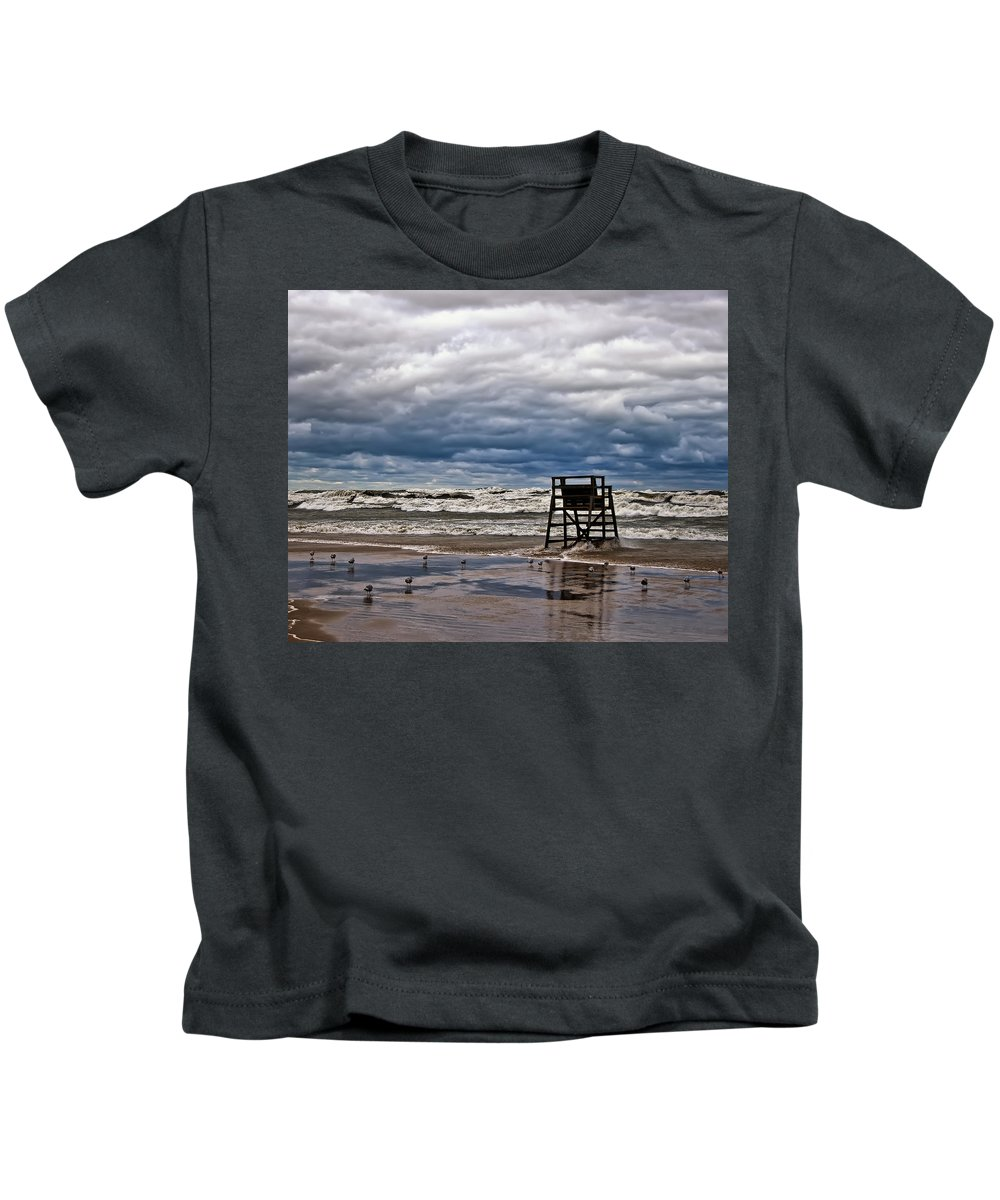 Clouds Kids T-Shirt featuring the photograph Lonely Lifeguard Chair 2 by Scott Wood