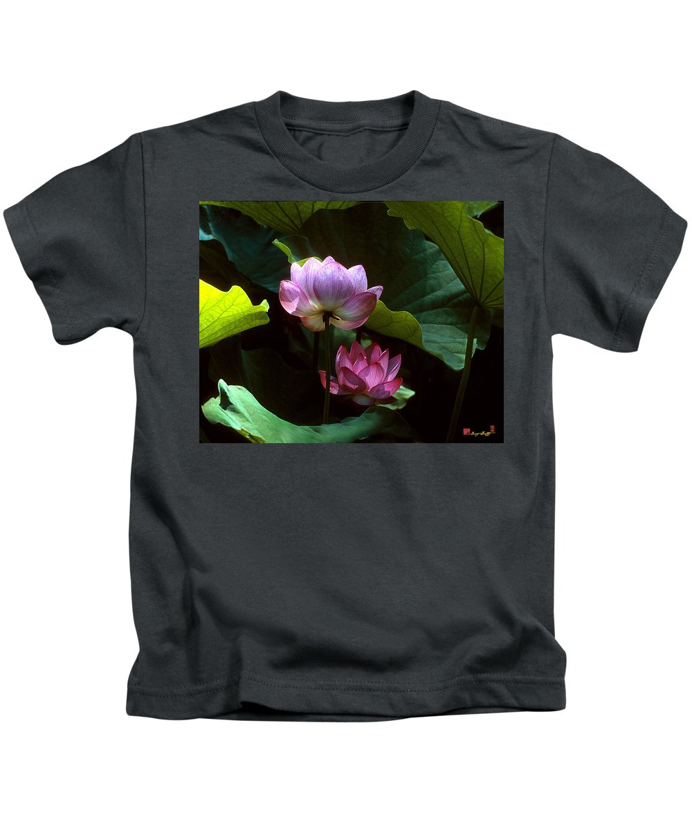 Nature Kids T-Shirt featuring the photograph Lotus--dimensions 20h by Gerry Gantt
