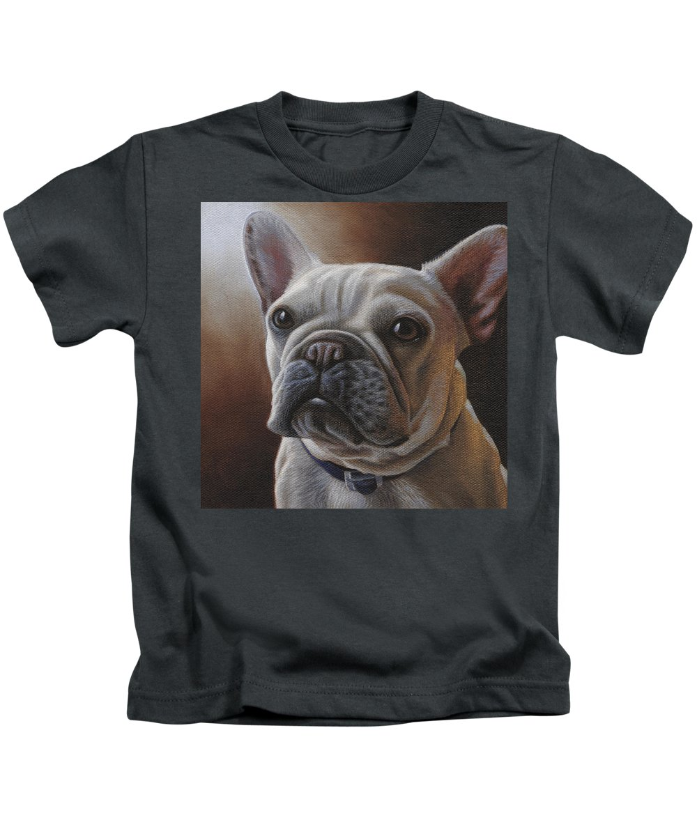 French Bulldog Kids T-Shirt featuring the painting Louie by Steven Tetlow