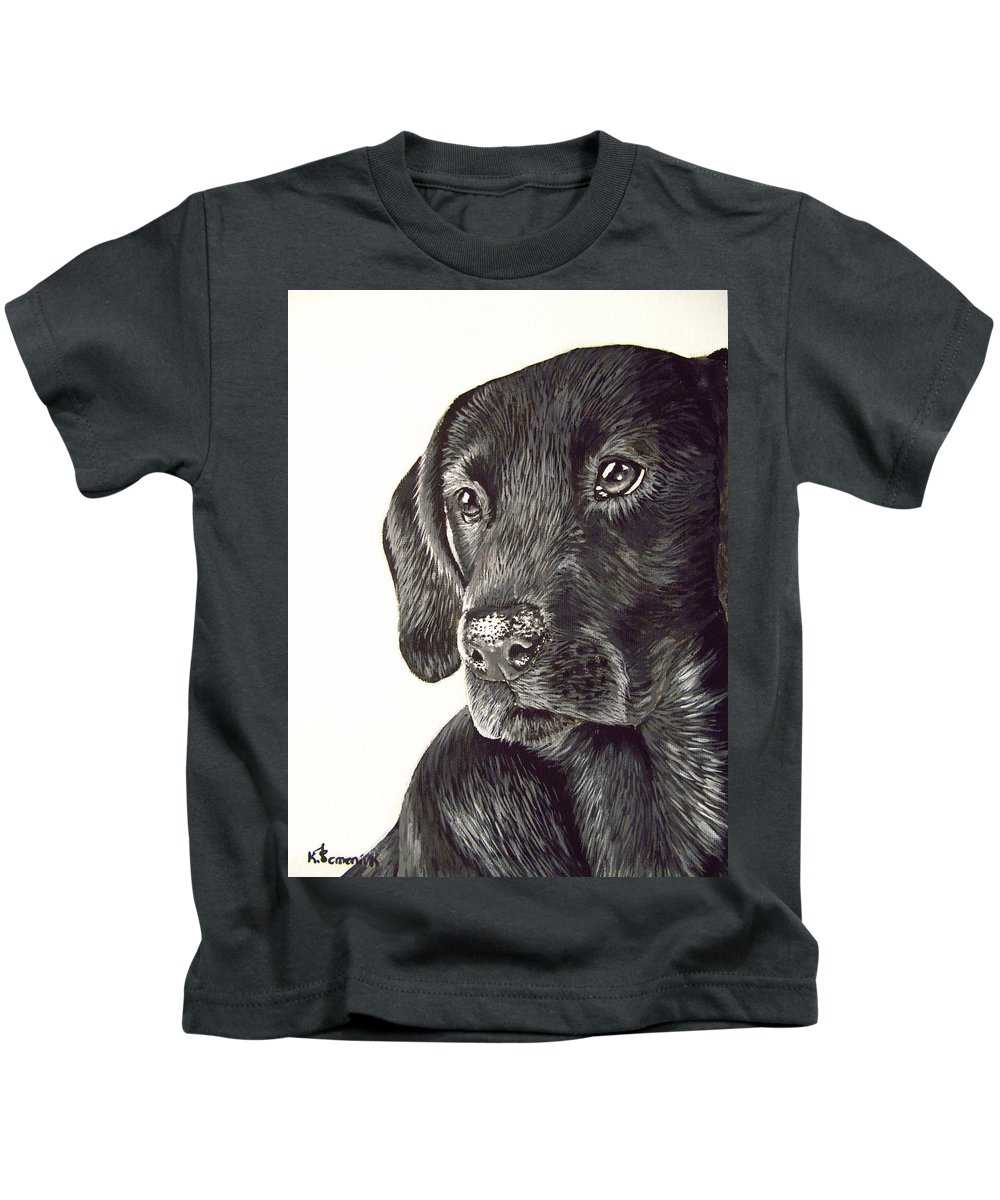 Dog Kids T-Shirt featuring the painting Loyalty by Kayleigh Semeniuk