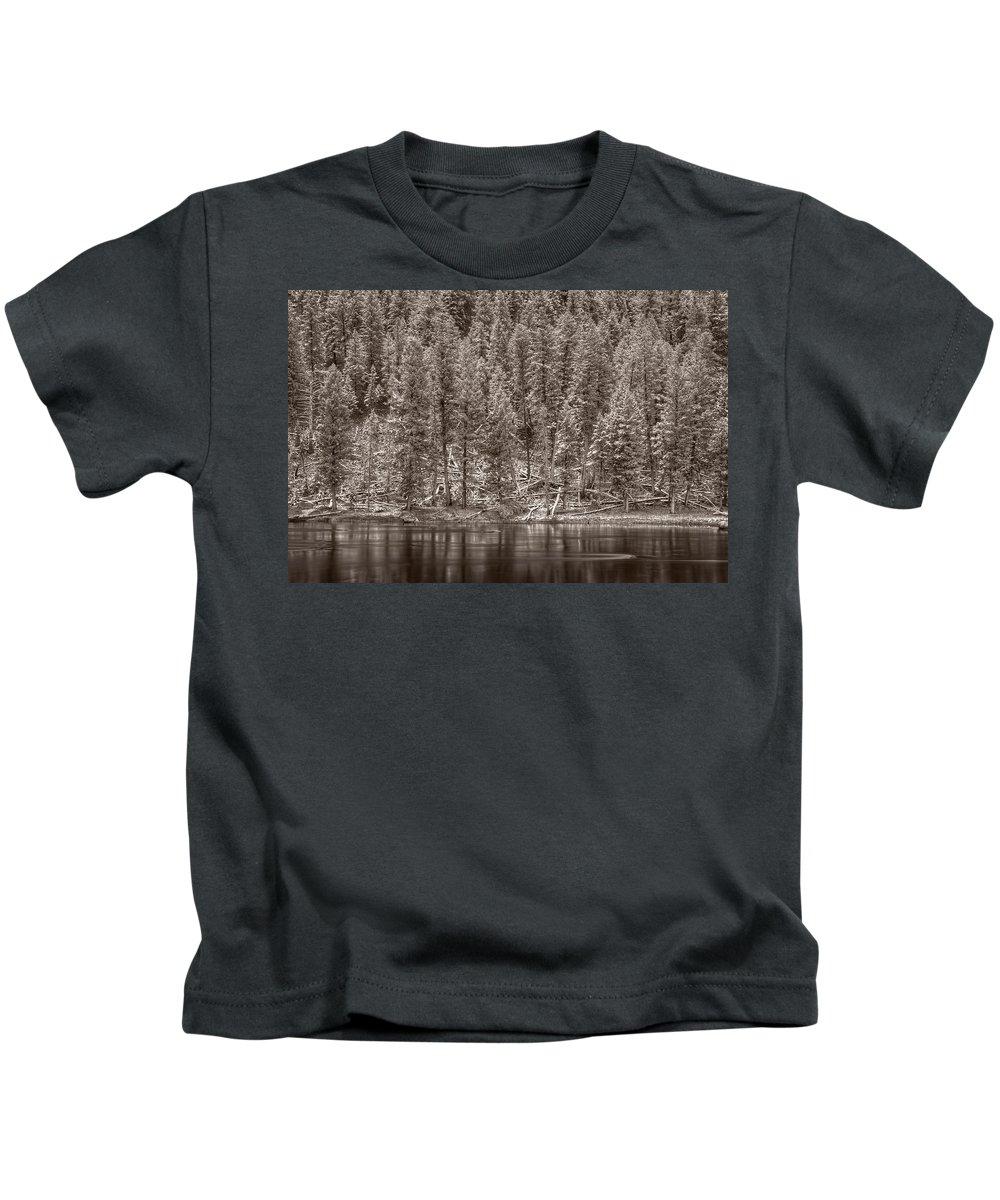 Snow Kids T-Shirt featuring the photograph Madison River Yellowstone Bw by Steve Gadomski