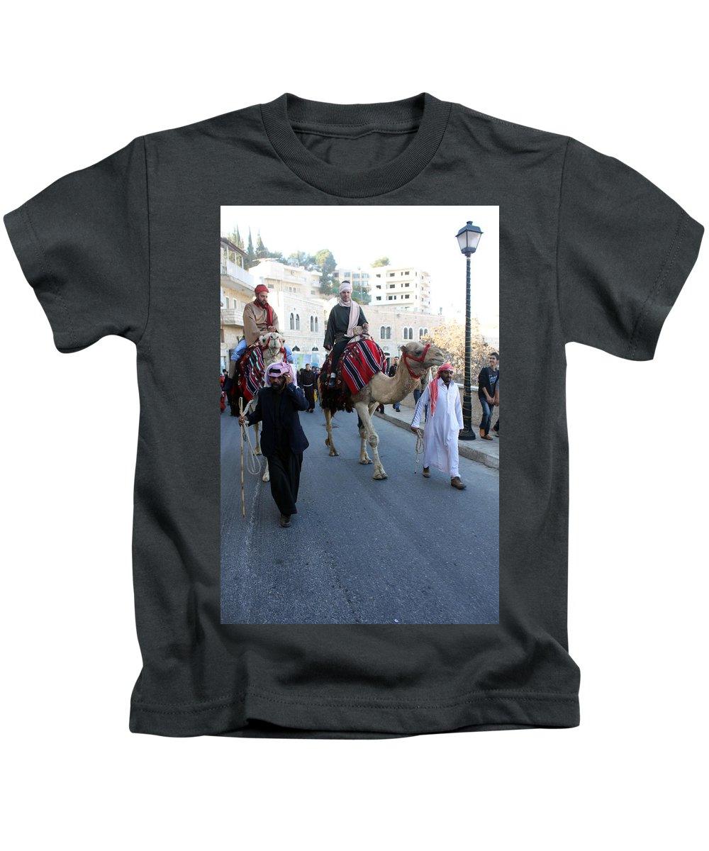 Mager Kids T-Shirt featuring the photograph Magi Going To Manger Grotto by Munir Alawi