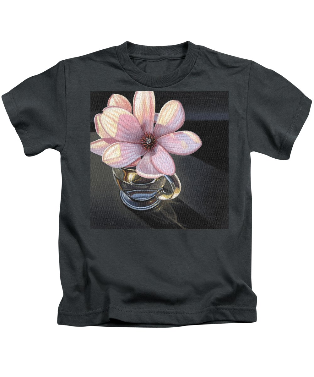 Magnolia Kids T-Shirt featuring the painting Magnolia Blossom In Glass Mug by Steven Tetlow