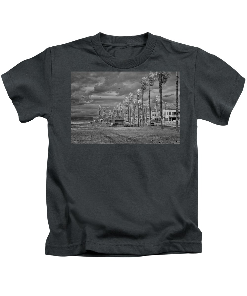 Seagulls Kids T-Shirt featuring the photograph Man And Gulls by Hugh Smith