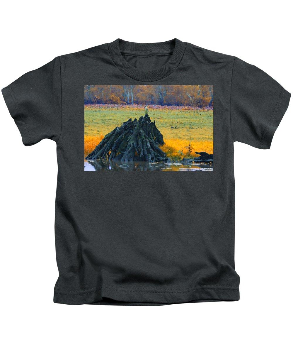 Dead Mangrove Tree Kids T-Shirt featuring the photograph Mangrove Lookout by Douglas Barnard