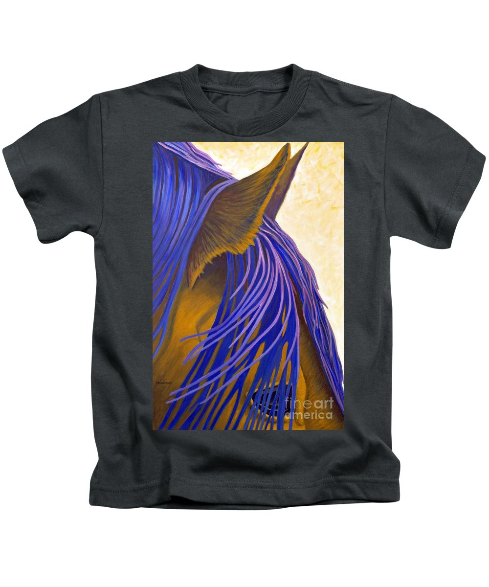 Horse Kids T-Shirt featuring the painting Many Lifetimes by Brian Commerford