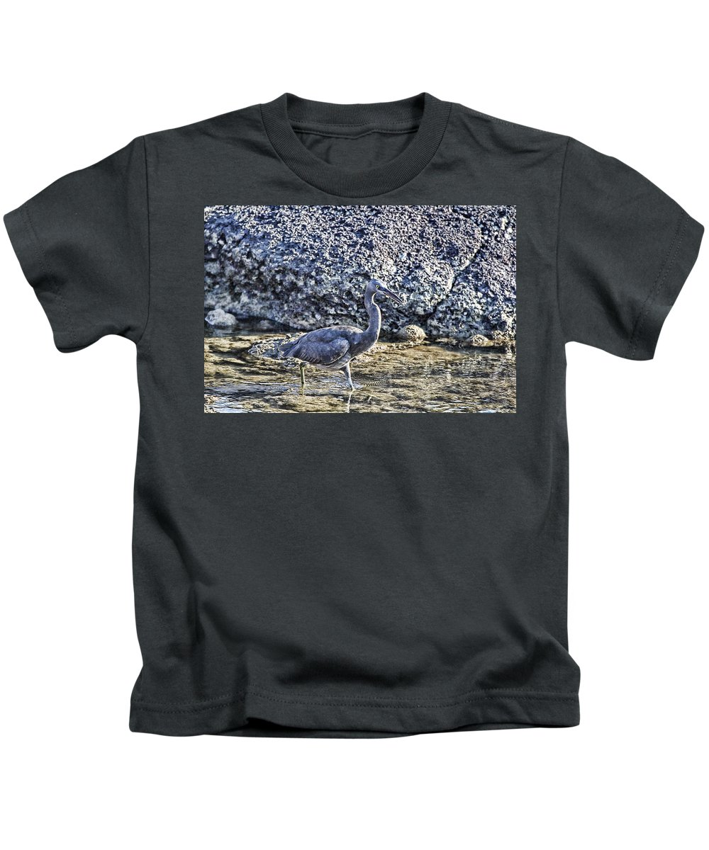 Reef Egret Kids T-Shirt featuring the photograph Matching Colors by Douglas Barnard