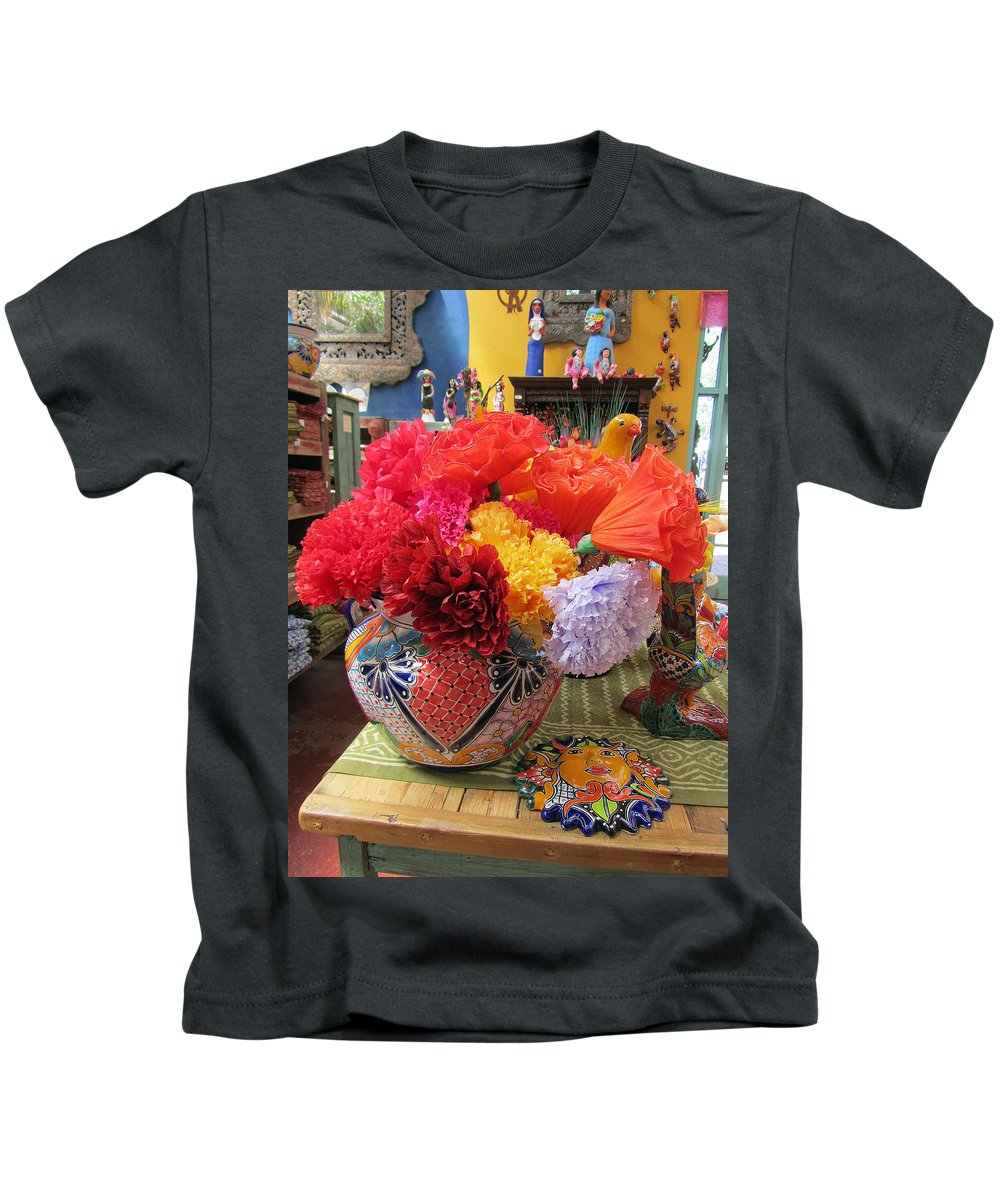 Mexican Kids T-Shirt featuring the photograph Mexican Paper Flowers And Talavera Pottery by Elizabeth Rose