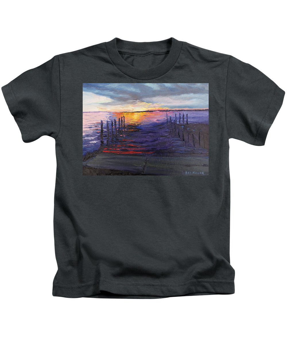 Sunset Kids T-Shirt featuring the painting Mikey's Sunset by Lea Novak