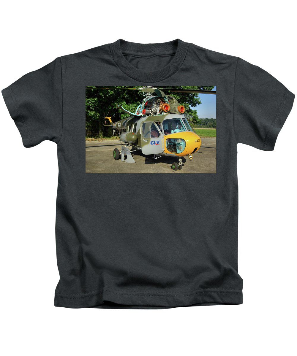 Mil Mi-2 Hoplite 9427 Utility Helicopter Czech Air Force Nato Days Ostrava Republic September 2011 Airplane Aeroplane Aircraft Kids T-Shirt featuring the photograph Mil Mi-2 Hoplite by Tim Beach