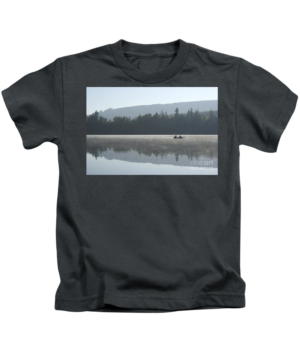 Washington Kids T-Shirt featuring the photograph Misty Morning Fishing by Jim And Emily Bush