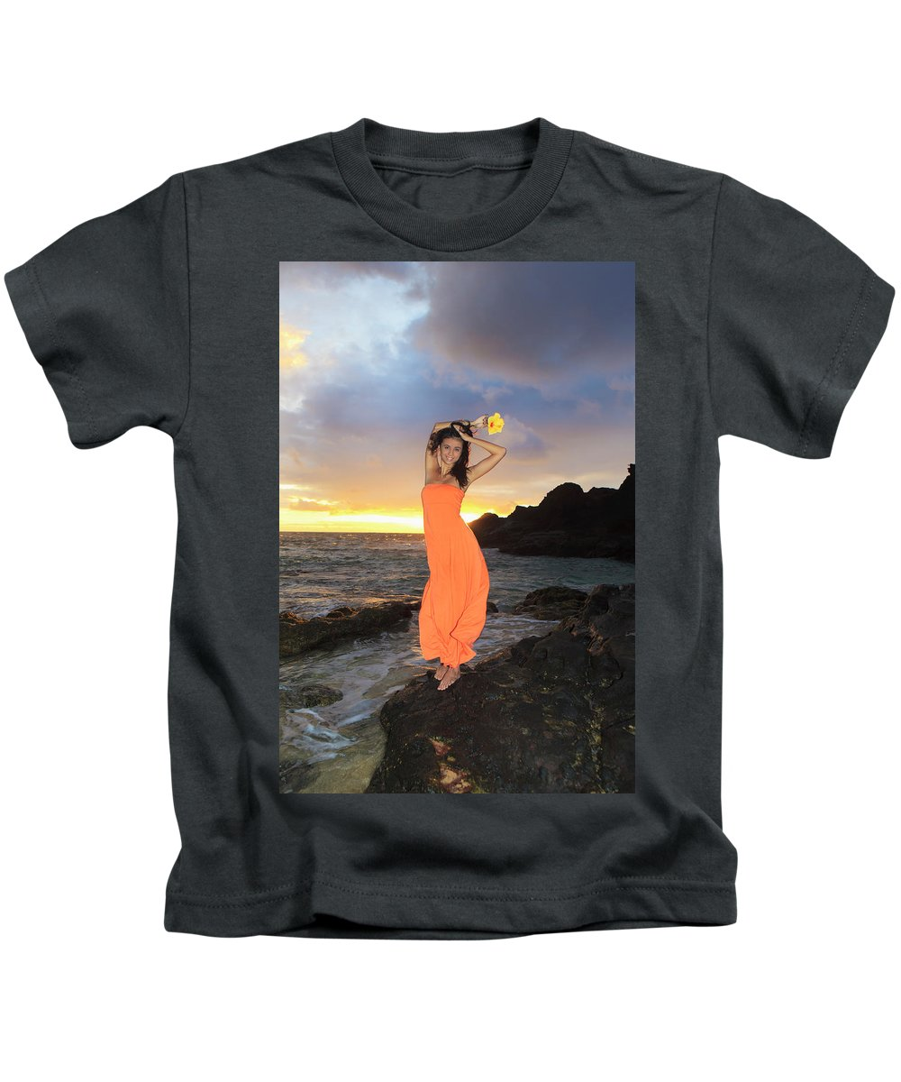Beach Kids T-Shirt featuring the photograph Model In Orange Dress by Tomas Del Amo - Printscapes