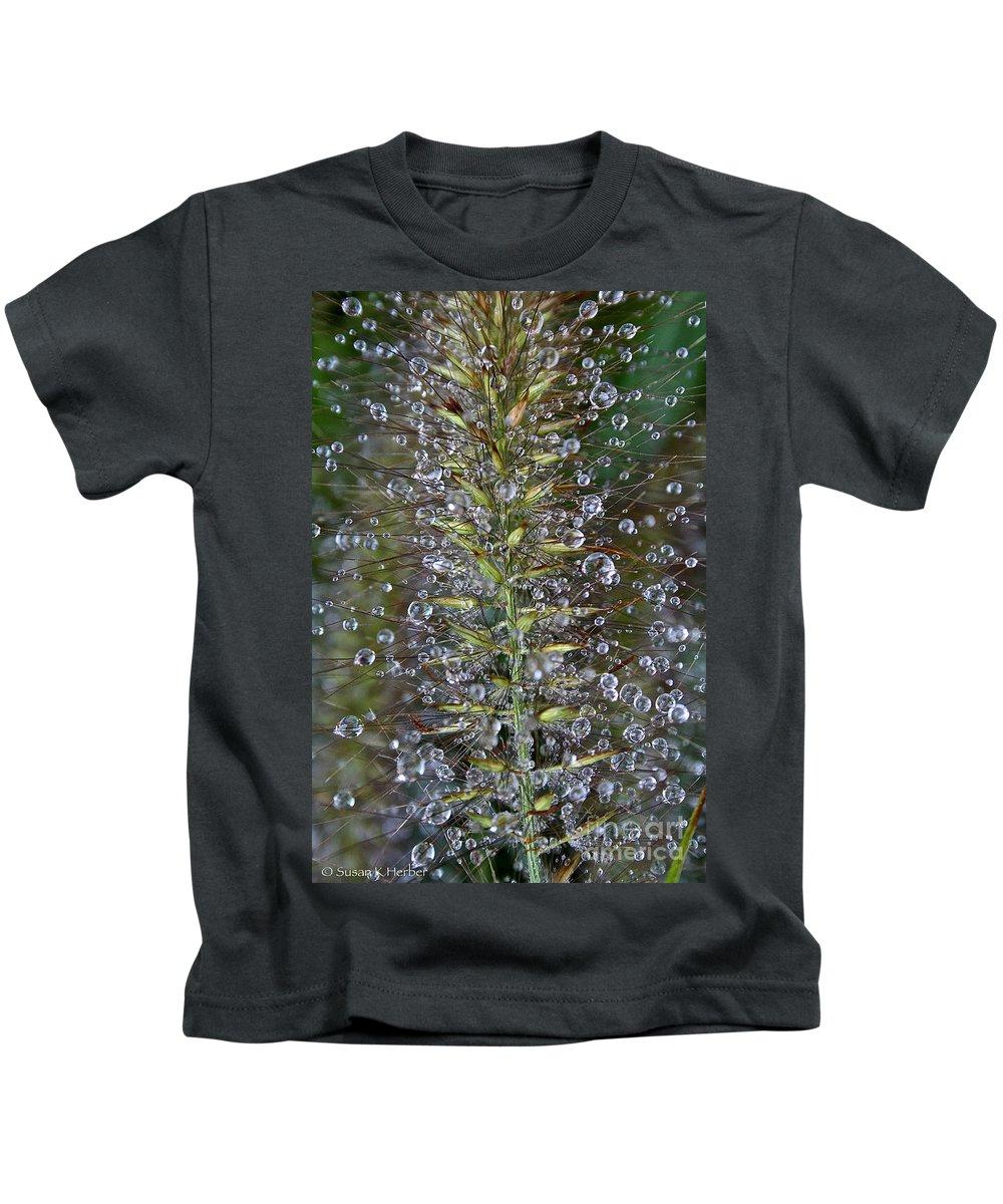 Outdoors Kids T-Shirt featuring the photograph Moisture by Susan Herber