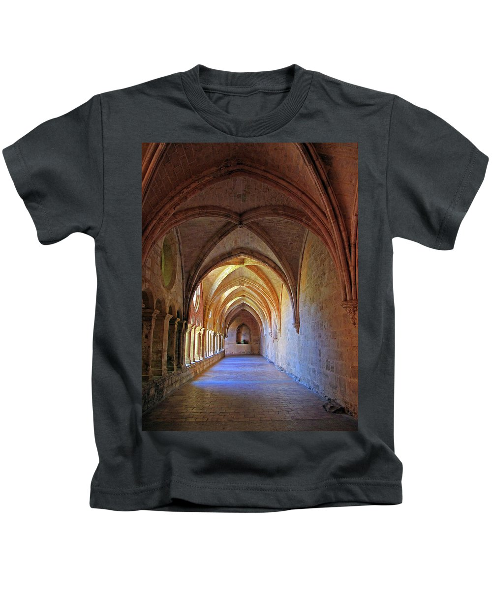 Monastery Kids T-Shirt featuring the photograph Monastery Passageway by Dave Mills