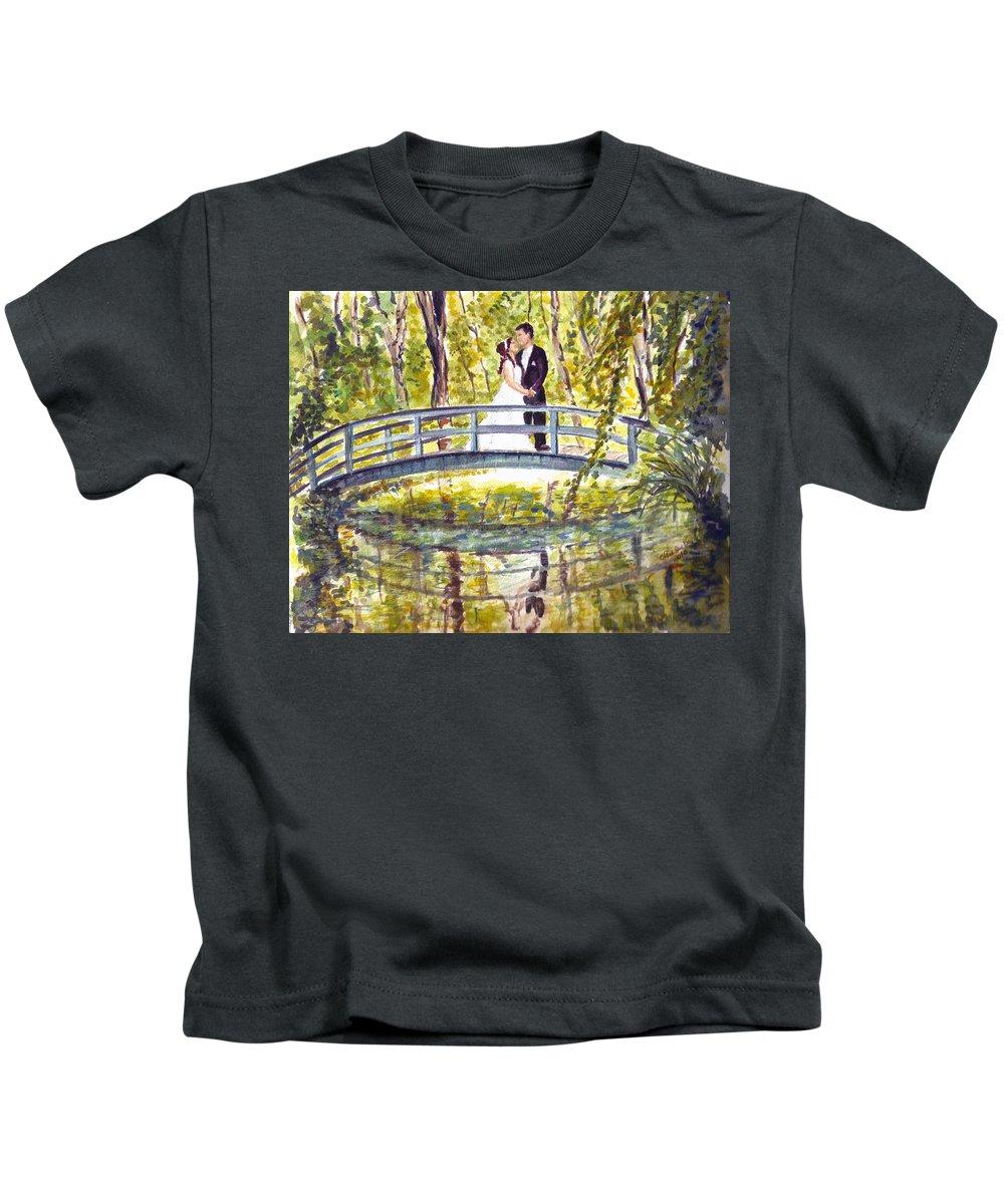Garden Bridge Kids T-Shirt featuring the painting Monet Wedding by Clara Sue Beym