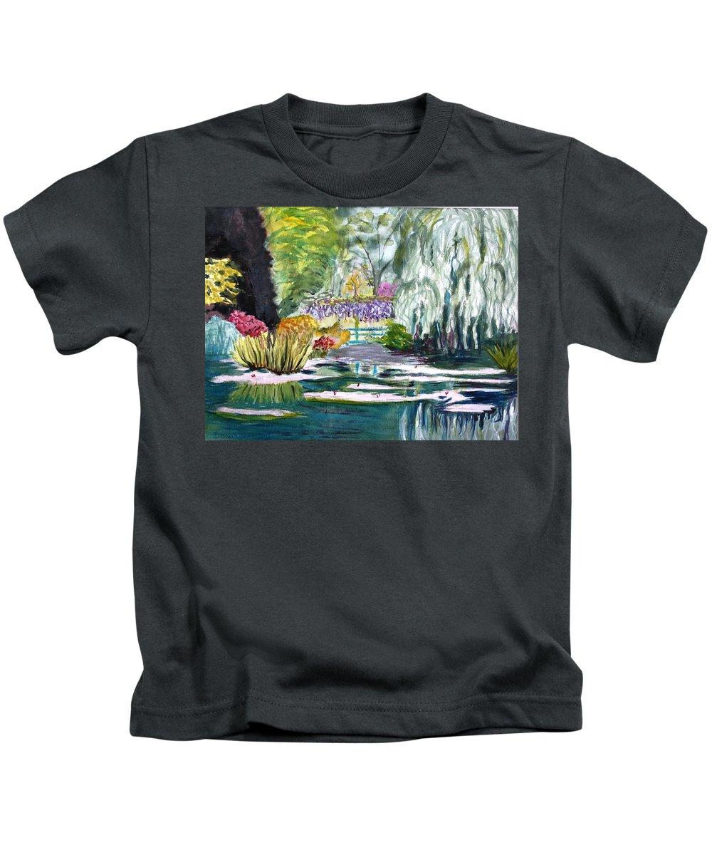Monet Kids T-Shirt featuring the painting Monet's Jardin De L'eau by Donna Walsh