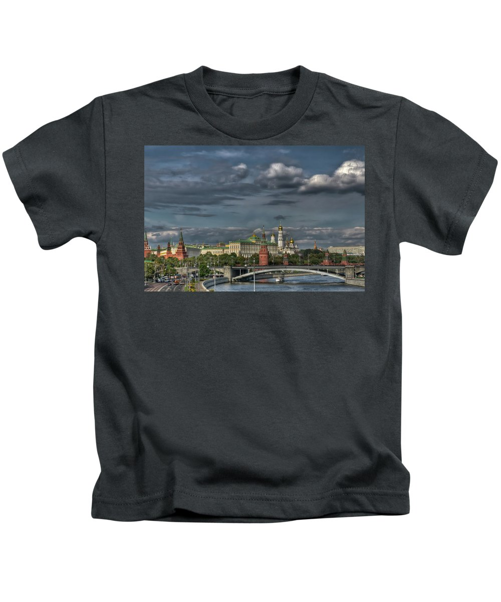 Blue.clouds Kids T-Shirt featuring the photograph Moscow Kremlin by Michael Goyberg