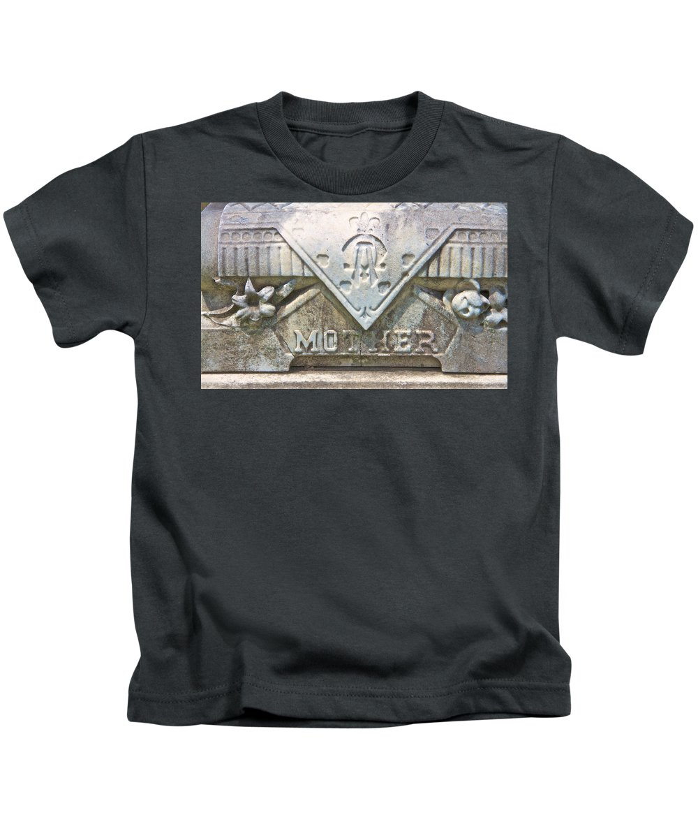 Mother Cemetery Marker Gravestone Laurel Hill Philadelphia Kids T-Shirt featuring the photograph Mother by Alice Gipson