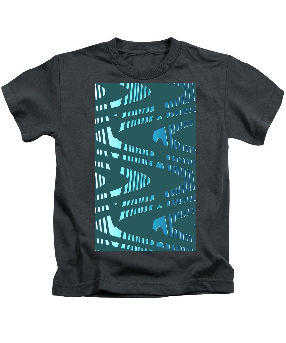Moveonart! Global Gathering. Branch -- airfuturewave -- Digital Abstract Art By Artist Jacob Kane -- Omnetra Kids T-Shirt featuring the digital art Moveonart Airfuturewaves by Jacob Kanduch