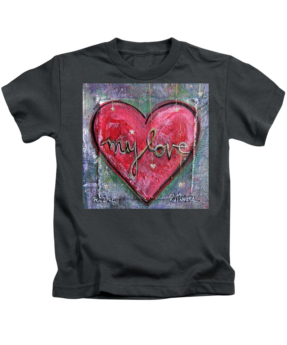 Heart Kids T-Shirt featuring the painting My Love Heart by Laurie Maves ART