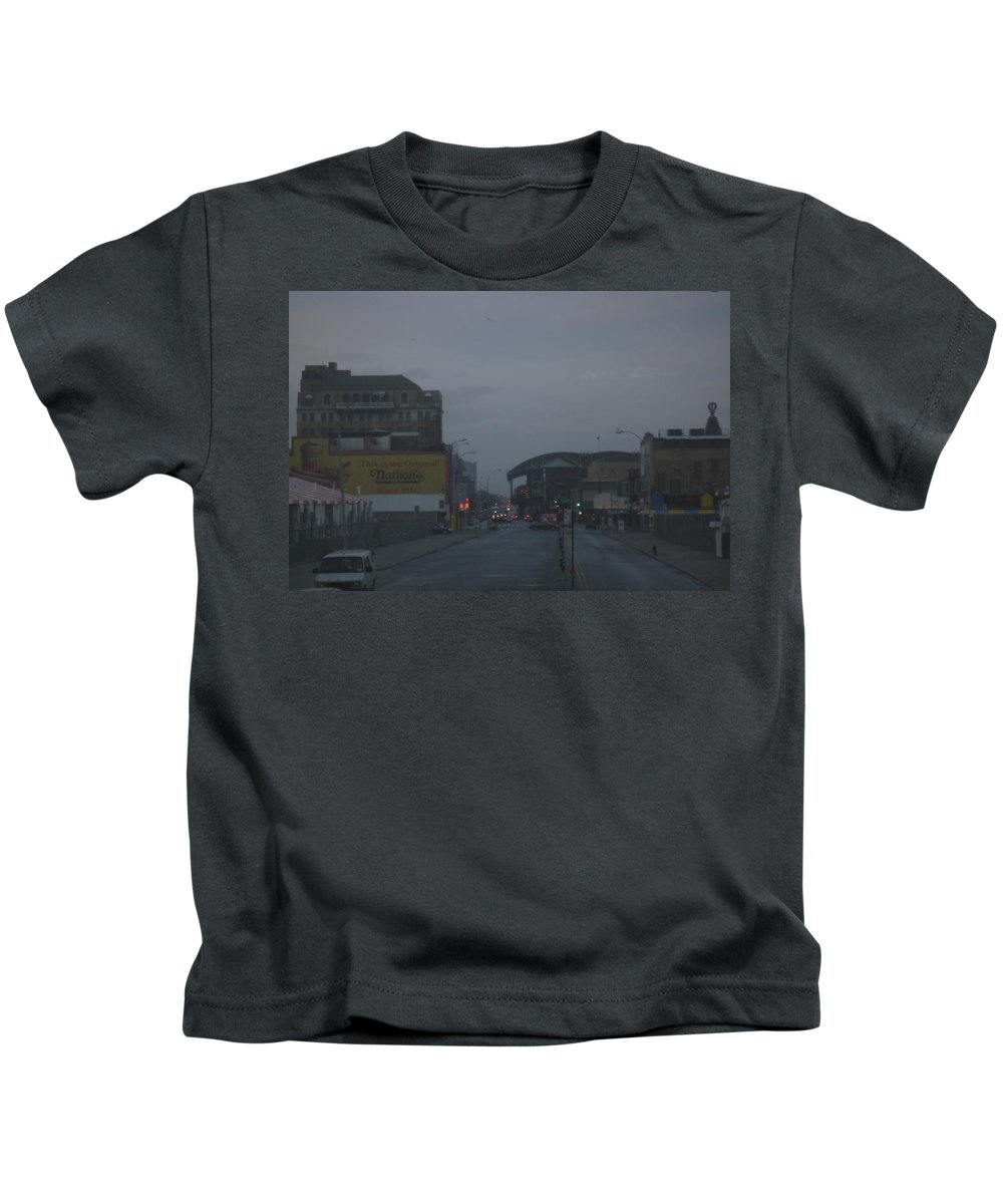 Nathan's Kids T-Shirt featuring the photograph Nathan's In The Mist by Sarah Yuster