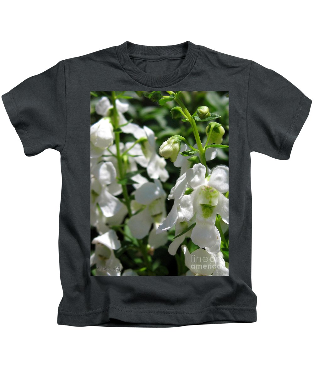 Nemesia Kids T-Shirt featuring the photograph Nemesia Named Poetry White by J McCombie