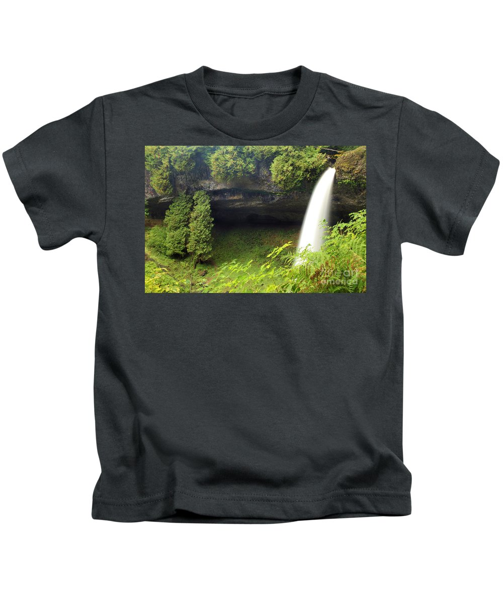North Falls Kids T-Shirt featuring the photograph North Falls At Silver Falls by Adam Jewell