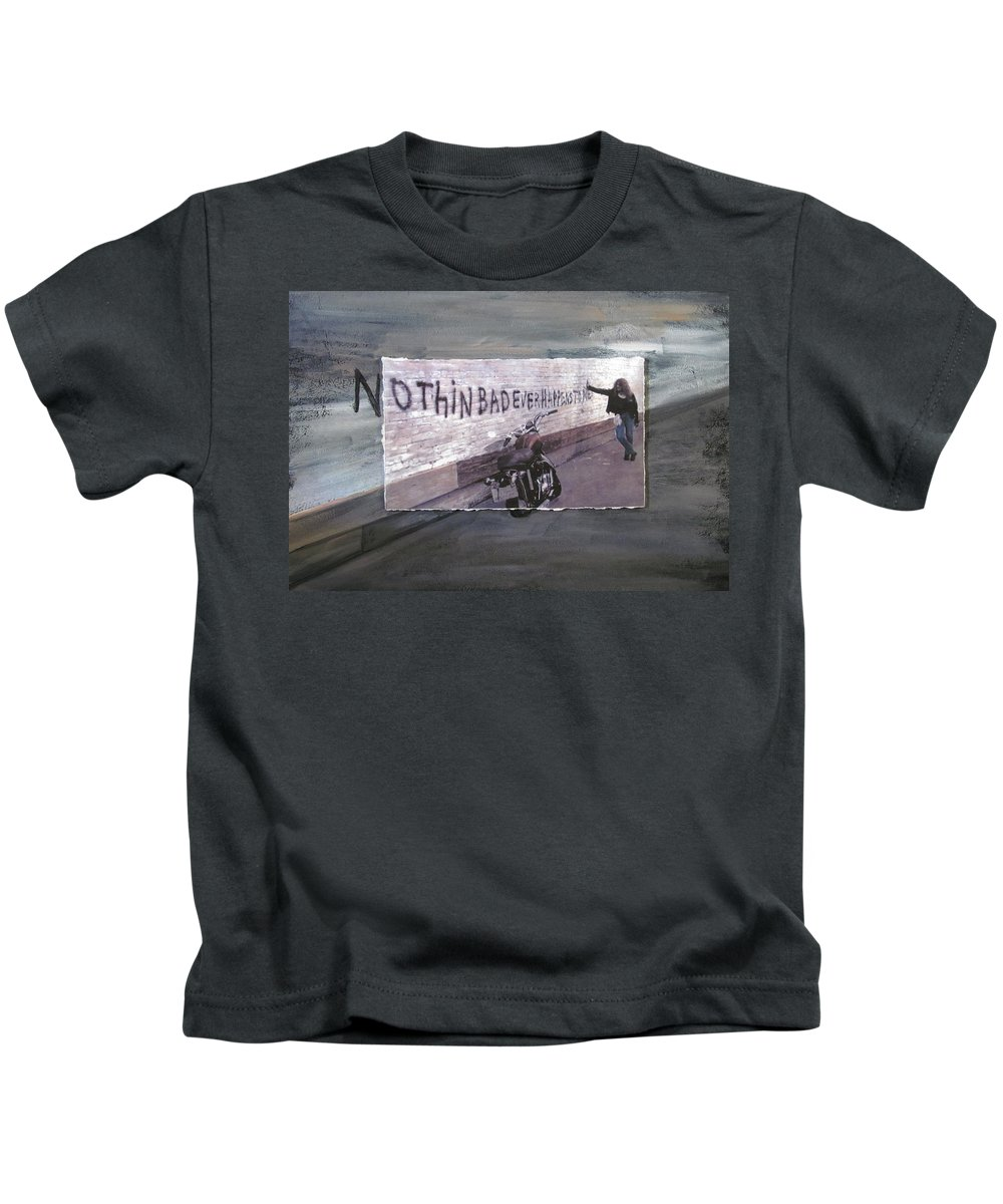 Photo Kids T-Shirt featuring the mixed media Nothin Bad Ever Happens To Me by Anita Burgermeister