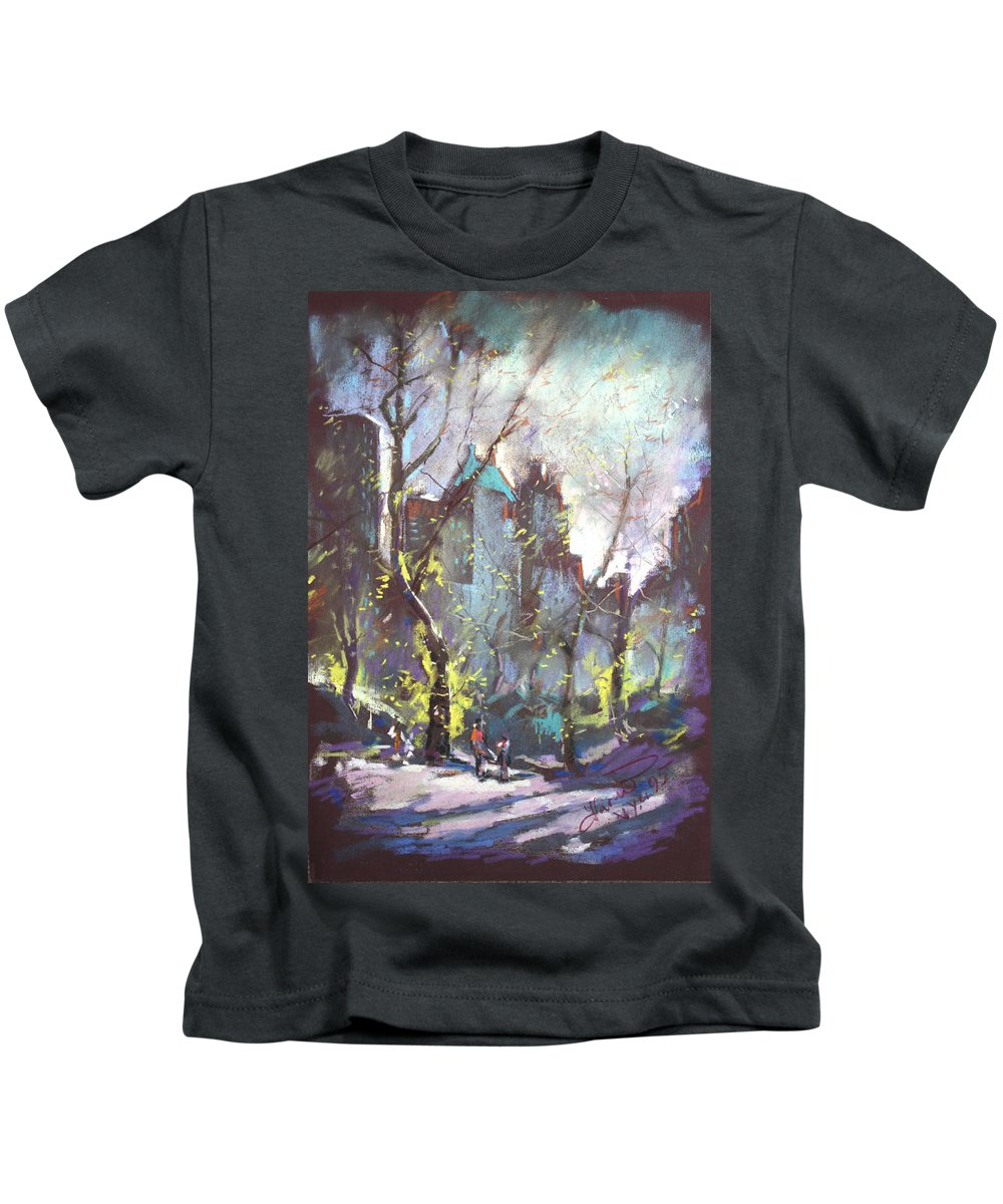 Ny City Kids T-Shirt featuring the pastel Nyc Central Park Controluce by Ylli Haruni