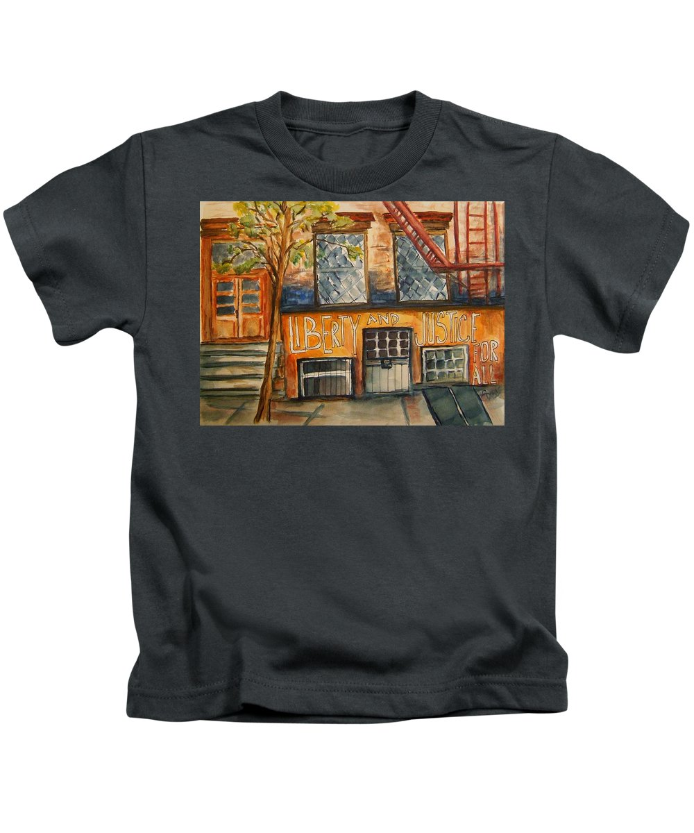 New York City Kids T-Shirt featuring the painting Nyc Graffiti by Elaine Duras