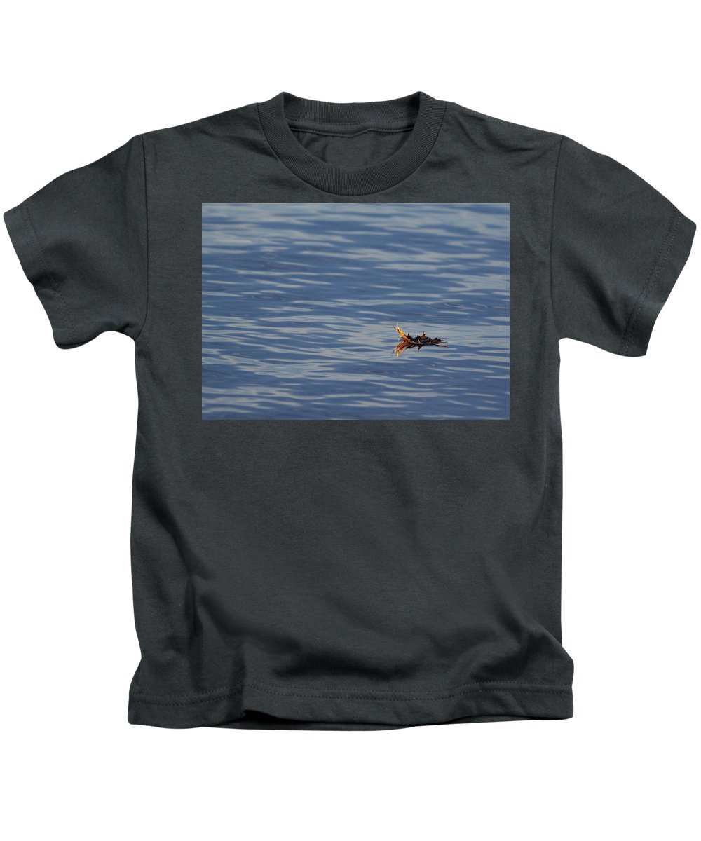 Water Kids T-Shirt featuring the photograph Oak Leaf Floating by Daniel Reed