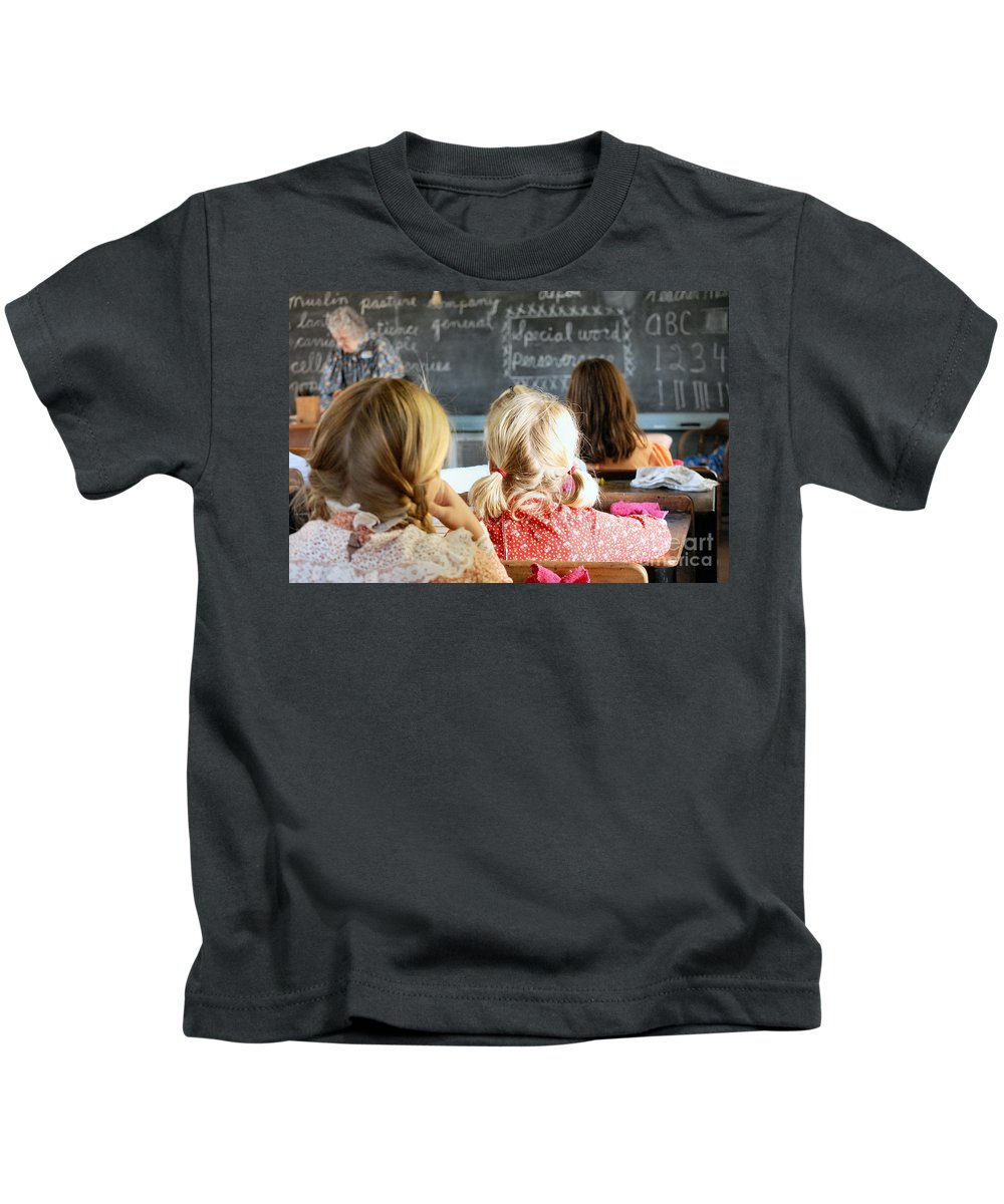 Schoolhouse Kids T-Shirt featuring the photograph Old Time Learning by Anjanette Douglas