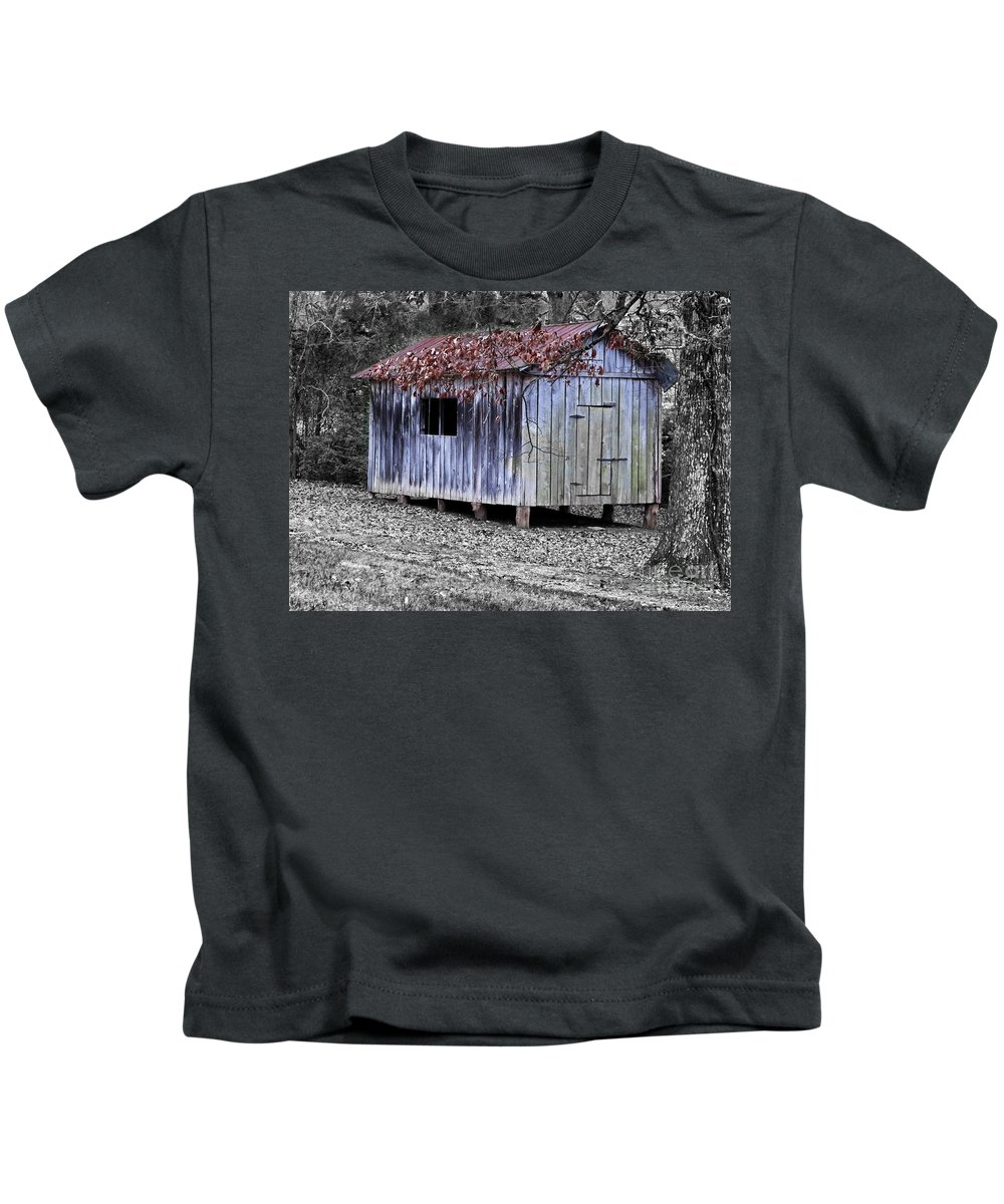 Vintage Kids T-Shirt featuring the photograph Old Weathered Shed by Betty LaRue