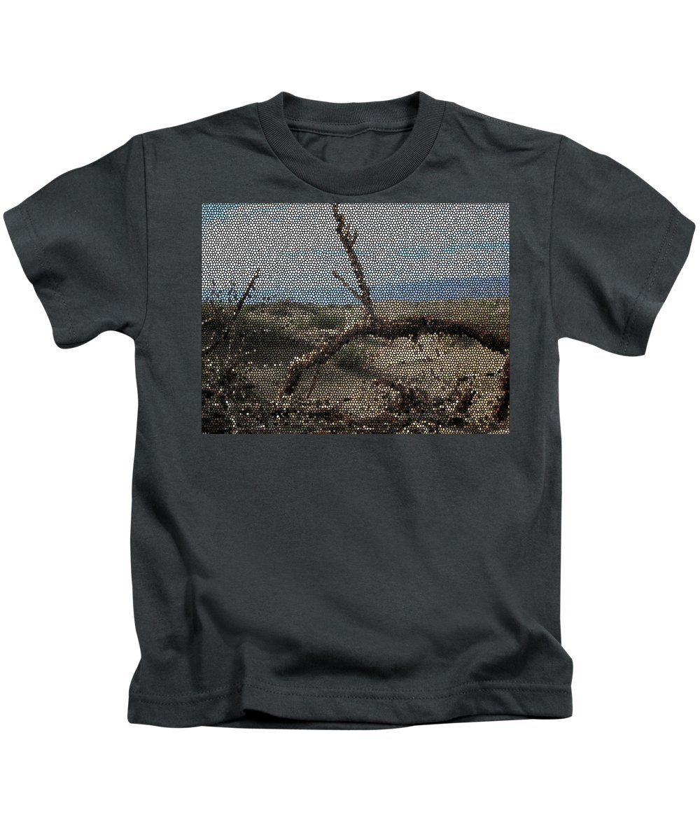 Open Road Framed Prints Kids T-Shirt featuring the mixed media One Majastic Trunk And One Hot Desert by Robert Margetts