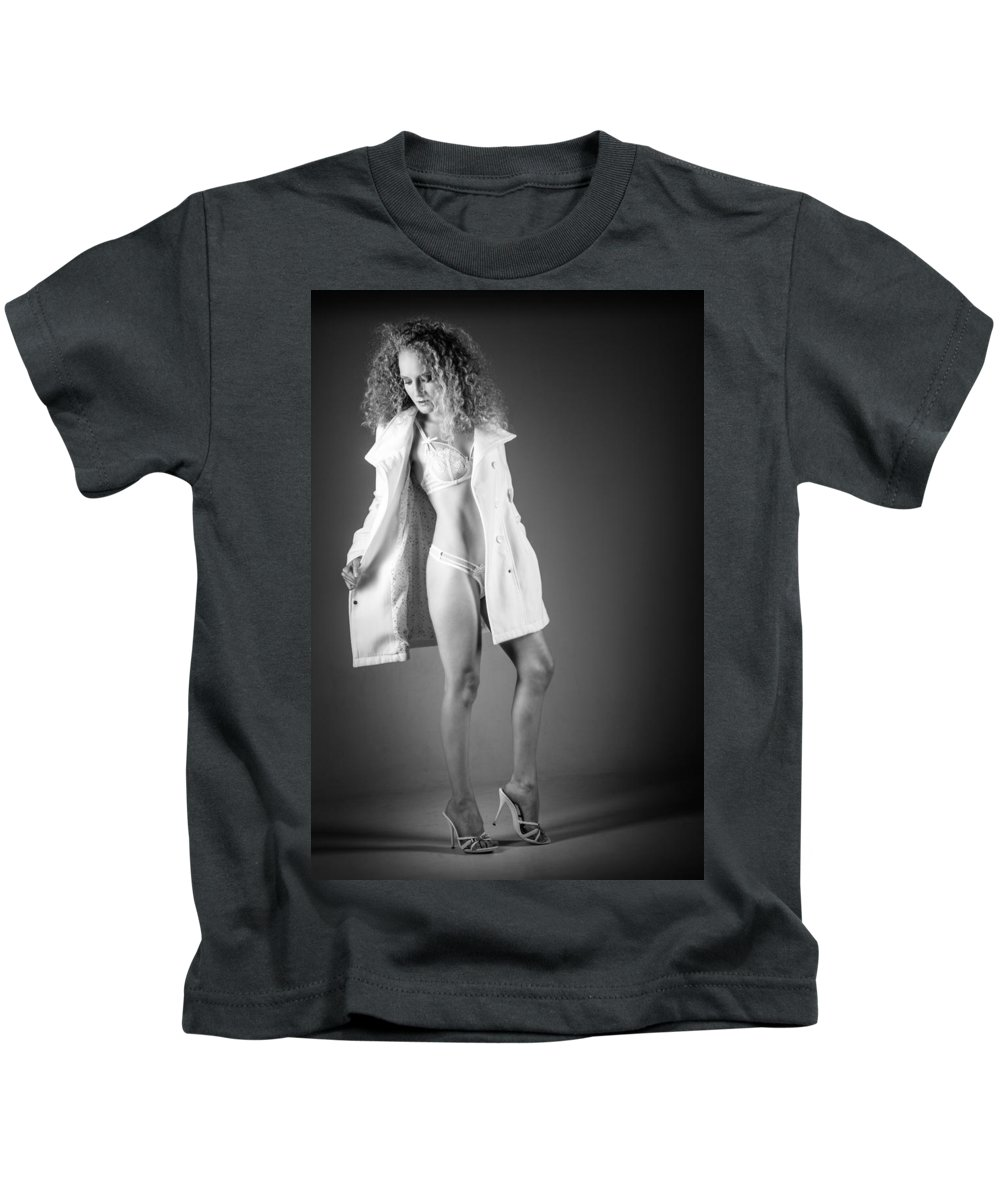 Ralf Kids T-Shirt featuring the photograph Open Coat In Bw by Ralf Kaiser