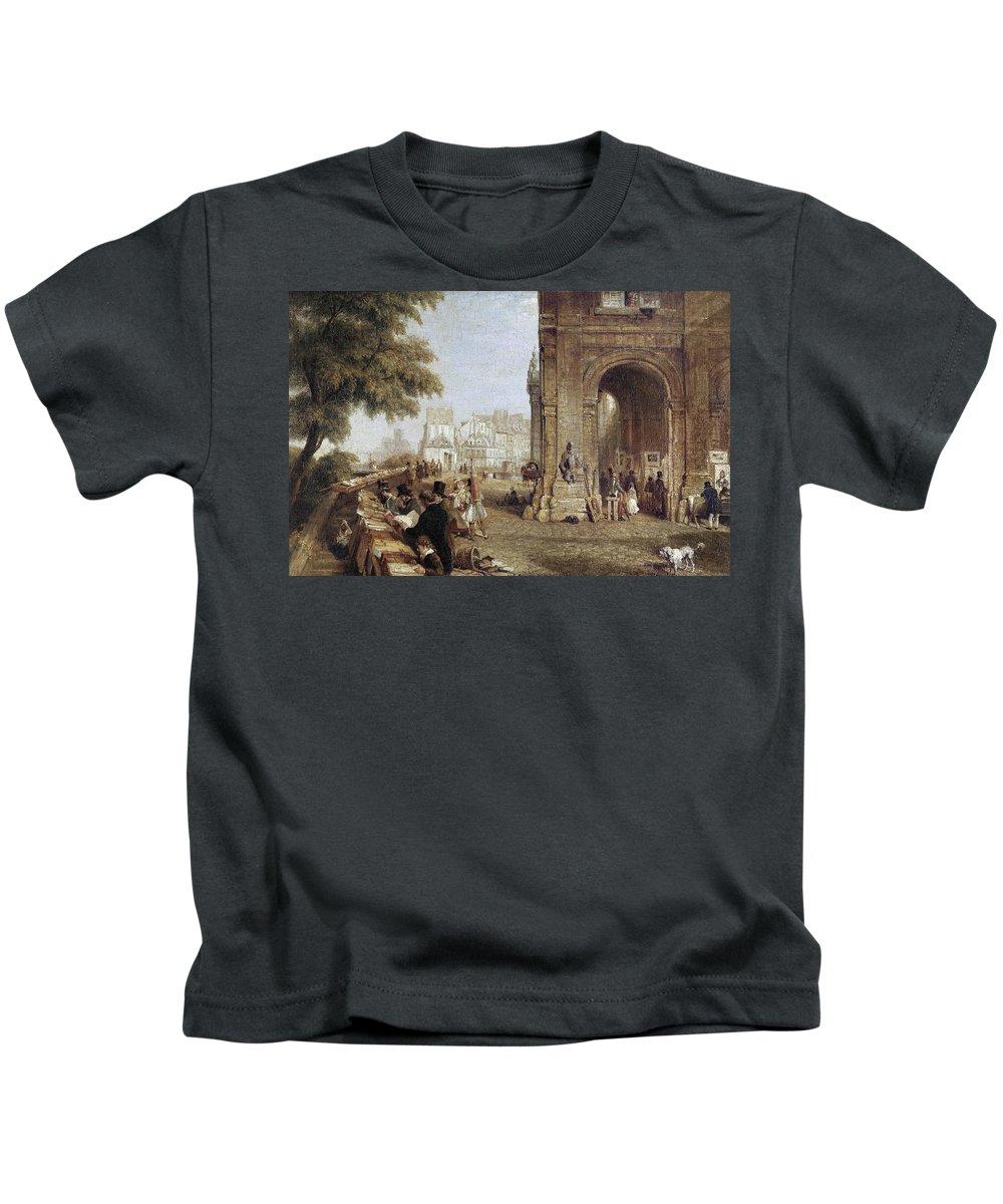 1843 Kids T-Shirt featuring the photograph Paris: Book Stalls, 1843 by Granger