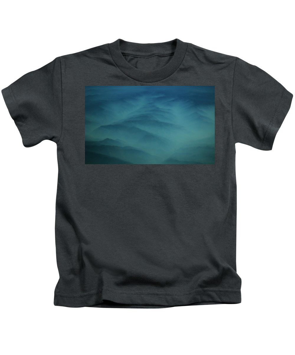 Aerial Photography Kids T-Shirt featuring the photograph Pdx Mountain Haze by Strato ThreeSIXTYFive