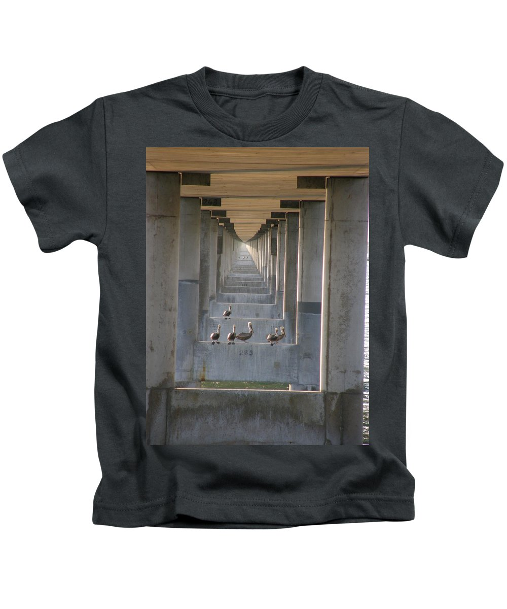 Architecture Kids T-Shirt featuring the photograph Pelican Perch With Seven Mile Perspectives by Kimberly Mohlenhoff