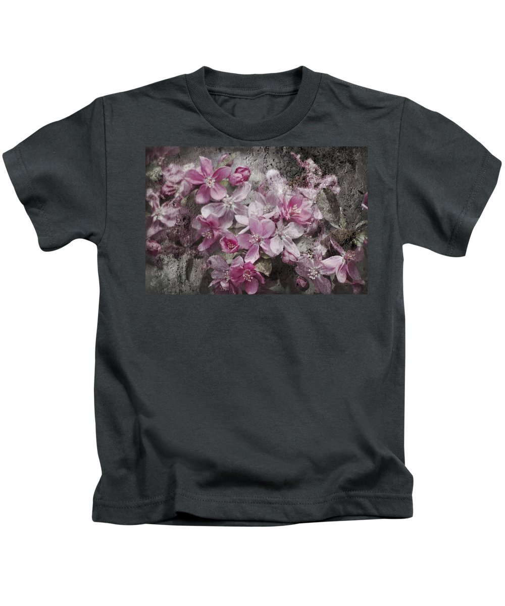 Malus Kids T-Shirt featuring the photograph Pink Flowering Crabapple And Grunge by Kathy Clark