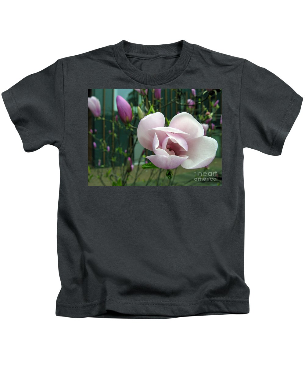 Pink Kids T-Shirt featuring the photograph Pink Magnolia by Ausra Huntington nee Paulauskaite