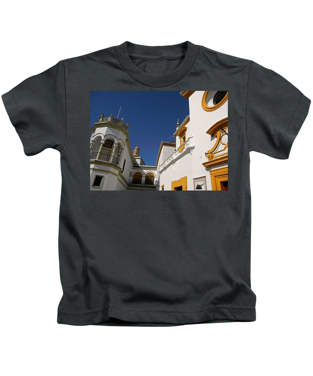 Spanien Kids T-Shirt featuring the photograph Plaza De Toros De La Real Maestranza - Seville by Juergen Weiss