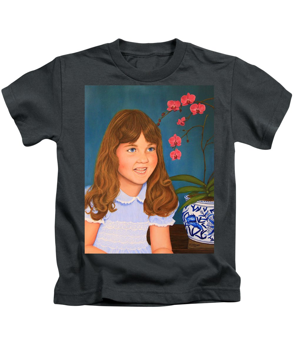Portrait Kids T-Shirt featuring the painting Portrail Of A Young Girl by Jim Ziemer