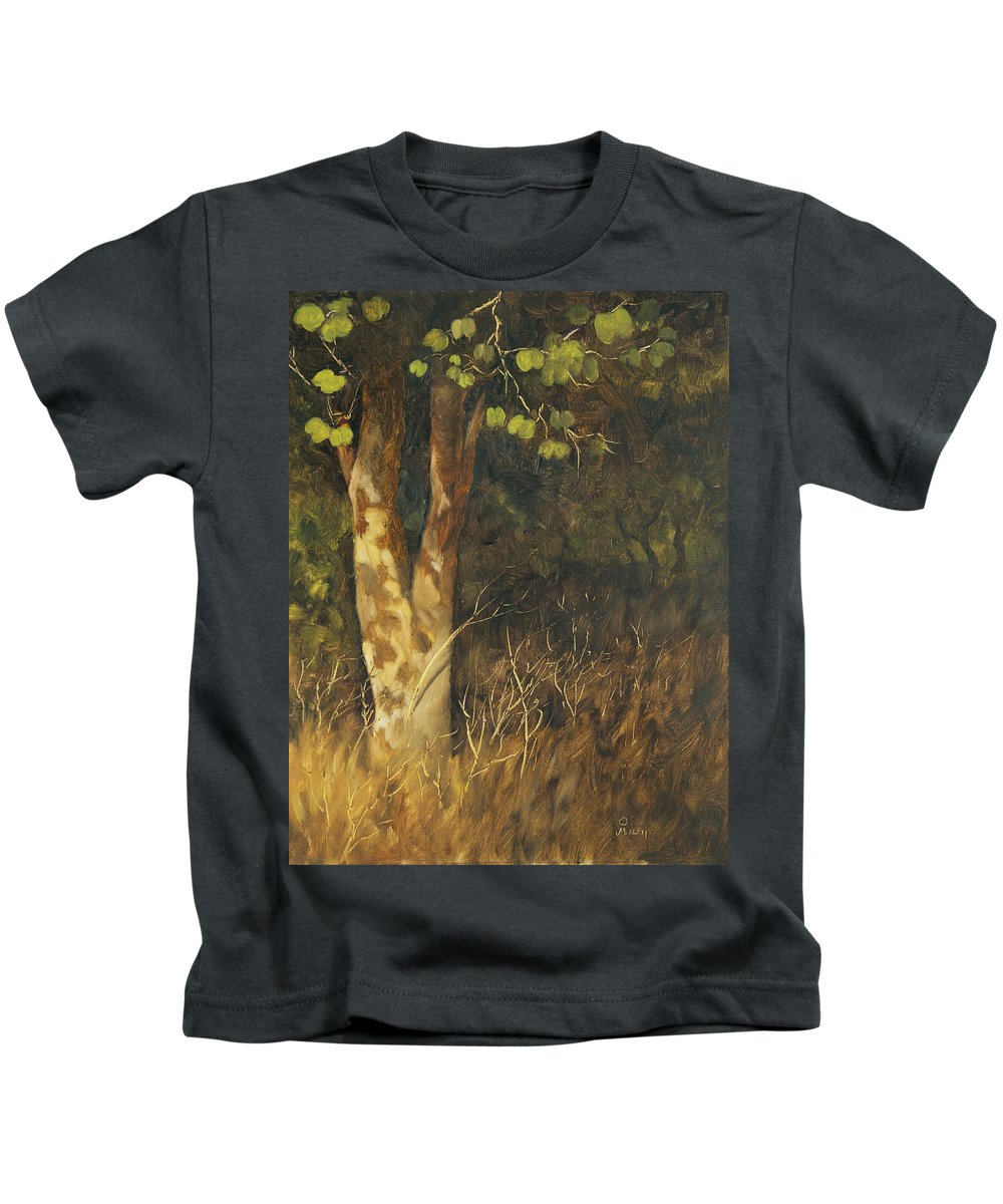 Grass Kids T-Shirt featuring the painting Portrait Of A Tree Trunk by Mandar Marathe