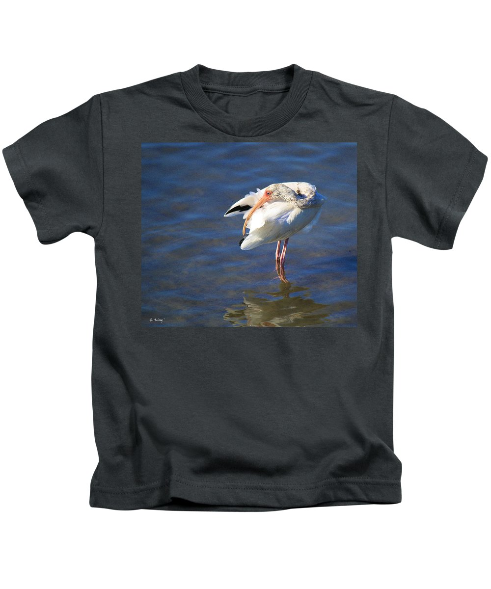 Roena King Kids T-Shirt featuring the photograph Preening The Evening Ritual by Roena King