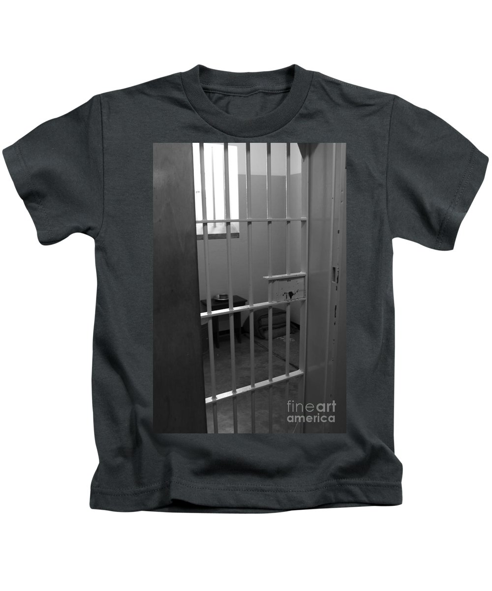 Robben Island Kids T-Shirt featuring the photograph Prison Cell by Aidan Moran