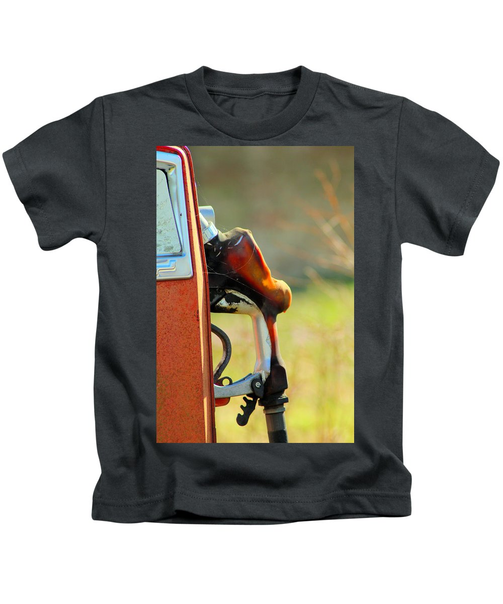 Gas Kids T-Shirt featuring the photograph Pump From The Past by Karen Wagner