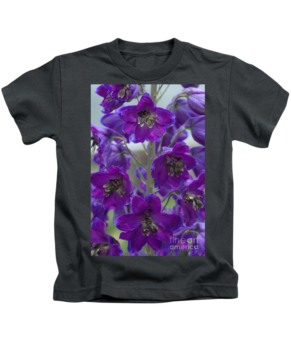 Purple Kids T-Shirt featuring the photograph Purple Flowers by Mike Nellums