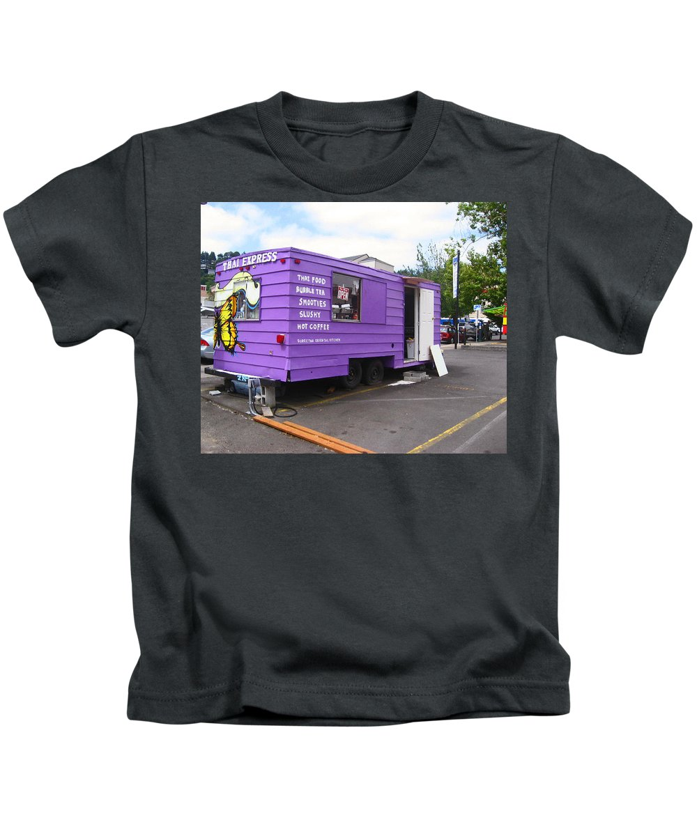 Purple Kids T-Shirt featuring the photograph Purple Food Truck by Kym Backland