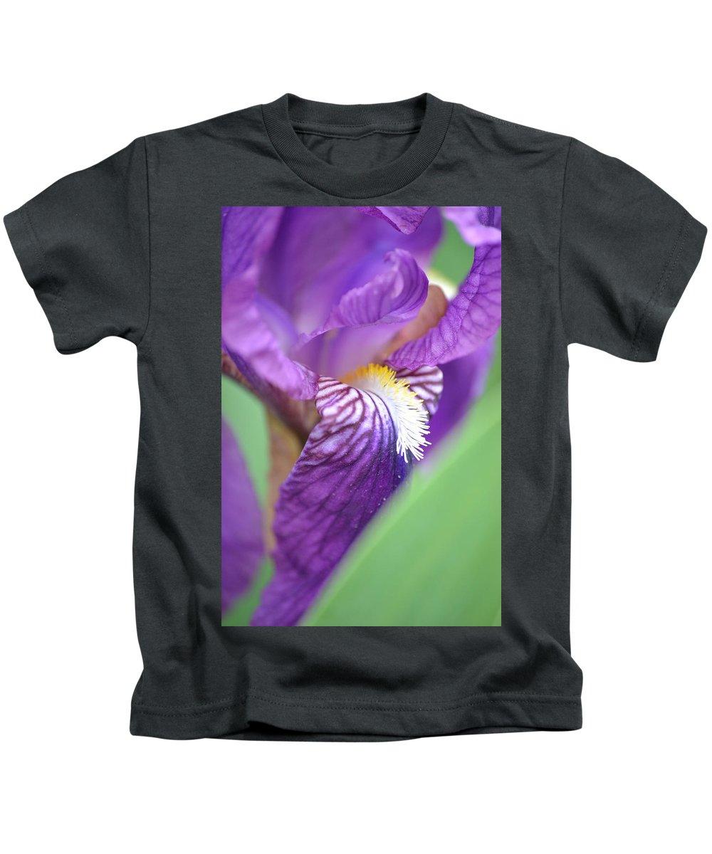 Iris Kids T-Shirt featuring the photograph Purple Iris by JD Grimes